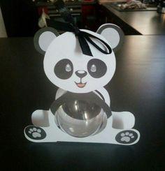 Boite à dragées panda boule plexi ( baptême, naissance, anniversaire)