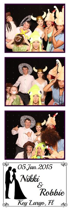 Fun photo booth strip from wedding at the Hilton Key Largo Resort in January 2015. Bride, groom, family, and friends wearing and using fun props!