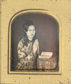 ca. 1840s, [daguerreotype portrait of a young lady praying]