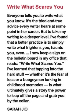 writing advice: write what scares you. Creative Writing Tips, Book Writing Tips, Writing Words, Writing Quotes, Writing Resources, Writing Help, Writing Skills, Writing Prompts, Ignorance