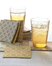 Quilted coasters. Everyone I know might be getting these for Christmas/Solstice.