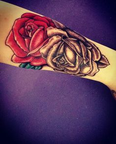 New tattoo #redrose #blackrose #tattoo