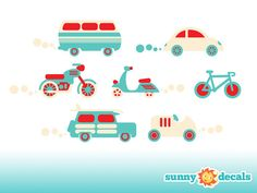 Jumbo Cars Fabric Wall Decals Transportation Theme by SunnyDecals, $59.99