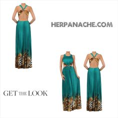 Teal Green Leopard Animal Print Backless Halter Women's Maxi Dress from HerPanache.com on Storenvy