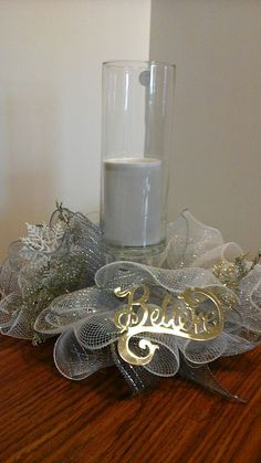 Winter centerpiece in white and silver deco by NancysNowandForever