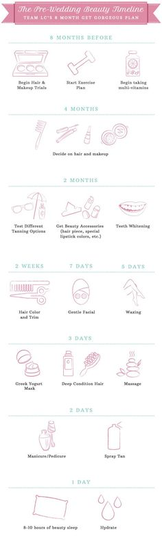Wedding Checklist Wedding Bells: The Bridal Beauty Timeline - This beauty timeline will prepare all you brides (or bridesmaids!) for the big day… Bridal Beauty, Wedding Beauty, Wedding Tips, Dream Wedding, Wedding Day, Trendy Wedding, Budget Wedding, Wedding Ceremony, Wedding Stuff