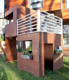 offset modern playhouse with balcony