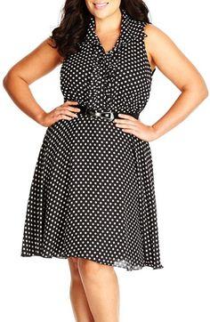 City Chic 'Spotty Frill' Sleeveless Print Chiffon Dress (Plus Size)