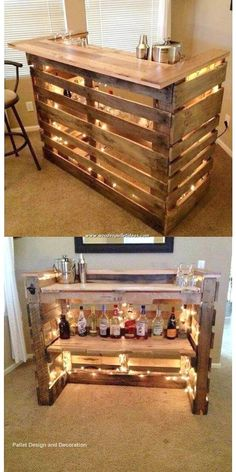 Pallet Counter, Wooden Pallet Table, Wooden Pallet Projects, Wood Pallet Furniture, Wooden Diy, Furniture Projects, Modern Furniture, Diy Pallet Bar, Palette Furniture