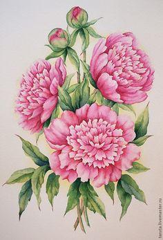 俄罗斯水彩花卉画