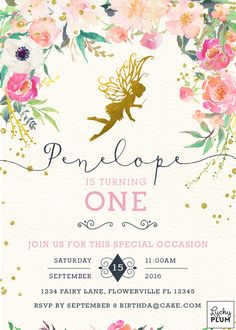 use this one - Fairy Birthday Invitation / Garden Invitation / by LuckyPlumStudio