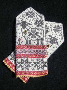 Selbu-Baaa-Ter pattern by Mary Scott Huff Fingerless Mittens, Knit Mittens, Knitted Gloves, Knitting Socks, Hand Knitting, Fair Isle Knitting Patterns, Knitting Charts, Crochet Patterns, Wrist Warmers