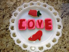 LOVE sugar cookies with tulip and slipper