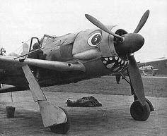 Other variants included Focke Wulf Fw 190 with large round eyes and a mouth painted on the lower engine cowling. Ww2 Aircraft, Fighter Aircraft, Military Aircraft, Luftwaffe, Fighter Pilot, Fighter Jets, Air Fighter, Focke Wulf 190, Ww2 Planes