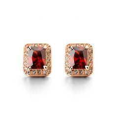 Rubino - CZ Diamond Gold Square Stud Earrings