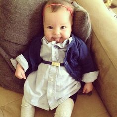 little boy button down = baby girl shirt dress. Who says girls can't wear their brothers hand-me-downs!