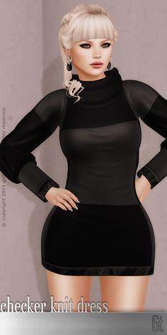 [ girl thursday ] checker knit dress