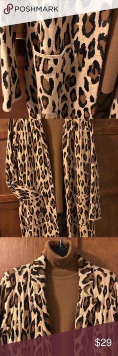 Animal print cardigan sweater Beautiful knit cardigan from Chico's!  Camel, black & brown with pockets.  Chico's size 0. Chico's Sweaters Cardigans