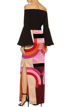 Shop on-sale TOM FORD Velvet-trimmed color-block silk-satin maxi skirt. Browse other discount designer Skirts & more on The Most Fashionable Fashion Outlet, THE OUTNET.COM