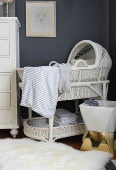 Our new Baby Bassinet and making room for baby – Nesting With Grace - Modern Baby Boy Rooms, Baby Boy Nurseries, Baby Cribs, Baby Room, Kids Rooms, Baby Basinets, Baby Nest, Small Baby Bed, White Painted Furniture