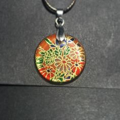 Red Gold Flower Japanese Washi Paper Resin Pendant Necklace by ManabizzleCreations on Etsy