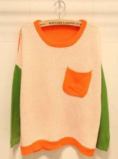 Color Block Long Sleeve Beige Sweater with Pocket$44.00