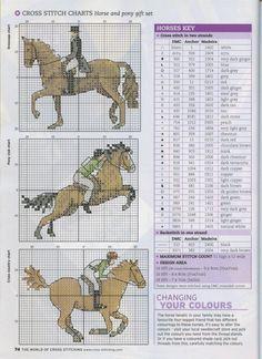 Sticken Pferde - cross stitch horses - free pattern The world of cross stitching 107 февраль 2006