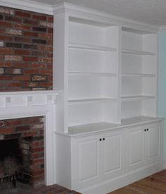 Would be nice to have shelves beside our fireplace like this.