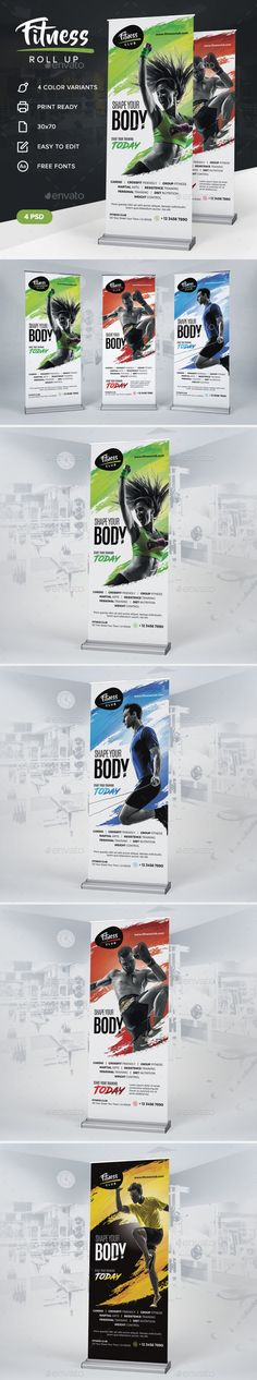 Fitness Roll Up by artmotion Print Templates: This roll up is perfect for gyms and fitness clubs promotion. Available in four color variation, 30x70 in format
