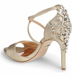 Badgley Mischka Karmen II Embellished Cross Strap Sandal (Women)  4cd8a76366a