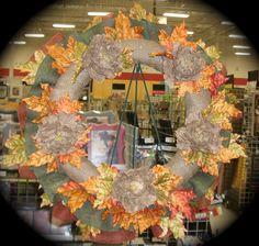 I used 3 colors of burlap, burlap peonies and fall foliage...