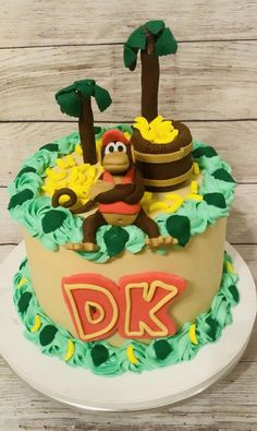 6th Birthday Cakes, Boy Birthday Parties, Birthday Ideas, Donkey Kong Junior, Cupcake Cakes, Cupcakes, Decorating Cakes, Cakes For Boys, Custom Cakes