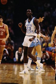 1984 North Carolina team mates of Michael Jordan included future NBA stars Sam Perkins and Kenny Smith as well as 1986 #1 pick Brad Daugherty.  What a team that was. Mike also played w James Worthy who he said would b on his all time starting 5. Along w Pippen n Olajowon