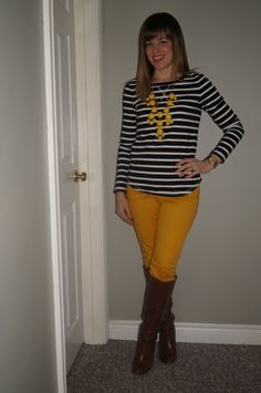 Old Navy Mustard Jeans, Yellow Bubble Necklace & Gap Stripes ~ Perfect Spring Outfit  sextoninthecity.ca