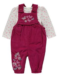 Corduroy Dungarees and Top Set, read reviews and buy online at George at ASDA. Shop from our latest range in Baby. Give their outfit collection a colourful b...