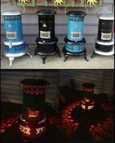 Love these kerosene heaters from the early Country Crafts, Country Decor, Farmhouse Decor, Repurposed Furniture, Painted Furniture, Diy Furniture, Outdoor Projects, Diy Projects, Outdoor Decor