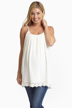 White-Chiffon-Lace-Trim-Maternity-Tank-Top