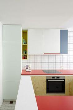 Kitchen Interior Design Trend Spotting: Colorblocking in the Kitchen Kitchen Furniture, Furniture Design, Furniture Stores, Brown Furniture, Furniture Websites, Deco Furniture, Furniture Online, Cheap Furniture, New Kitchen