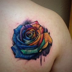 38 Gorgeous Gay Pride Tattoos: Rainbow Rose A permanent reminder of who you are and what you stand for, a Pride tattoo is one of the most inspiring tattoos you could get. In honor of Pride Month, we've Gay Pride Tattoos, Rebel Flag Tattoos, Gay Tattoo, Up Tattoos, Future Tattoos, Flower Tattoos, Body Art Tattoos, Tattoos For Guys, Sleeve Tattoos