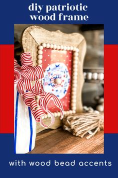diy Patriotic Wood Frame - Re-Fabbed Woodworking Projects For Kids, Craft Projects, Craft Ideas, Handmade Wooden Toys, 4th Of July Decorations, Good Tutorials, Country Farmhouse Decor, Dollar Store Crafts, Diy Frame