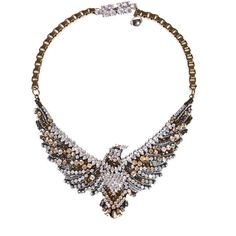 SHOUROUK Phenix Simple Swarovski elements necklace (€550) ❤ liked on Polyvore featuring jewelry, necklaces, shourouk jewelry, white jewelry, white necklace, sparkle jewelry and shourouk