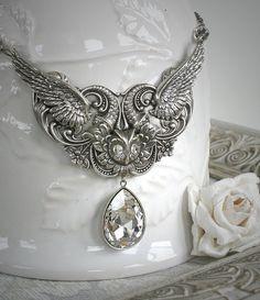 ASAS DE INVERNO fantasia romântica vintage inspirado colar de coruja com grande cristal Swarovski, dom gratuito de boxe