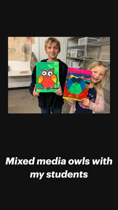 Mixed Media Collage, Mixed Media Canvas, 4th Grade Art, Young At Heart, Arts Ed, Watercolour Painting, Owls, Kid Stuff, Art Projects
