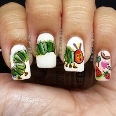 The Very Hungry Caterpillar / 15 Works Of Nail Art Inspired By Your Favorite Children's Books Fancy Nails, Love Nails, How To Do Nails, Pretty Nails, My Nails, Very Hungry Caterpillar, Cute Nail Designs, Nail Artist, Nails Inspiration