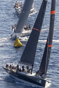 BELLA MENTE leads the Mini Maxi fleet round the windward mark - Image by Rolex Carlo Borlenghi