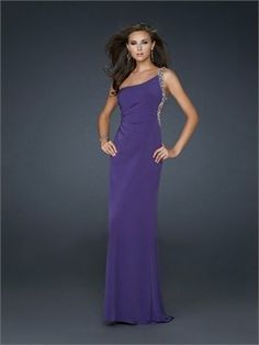 Elegant Column One shoulder strap Open Back with Beadings Chiffon Prom Dress PD11059 Sale Online