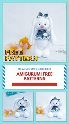 Crochet Bunny Pattern, Crochet Dolls Free Patterns, Crochet Rabbit, Granny Square Crochet Pattern, Amigurumi Patterns, Easter Crochet, Crochet For Kids, Free Crochet, Crochet Animal Amigurumi
