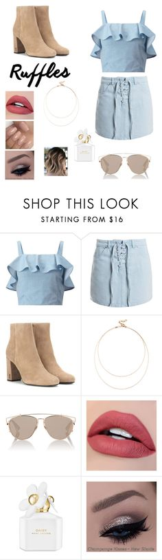 """Ruffledstiltskin"" by garlandcal200 ❤ liked on Polyvore featuring Miss Selfridge, Sans Souci, Yves Saint Laurent, Sole Society, Christian Dior and Marc Jacobs"
