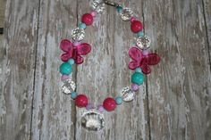 Bubblegum Beads Kids Necklace Pink Aqua by TwinsMamaBoutique, $15.00