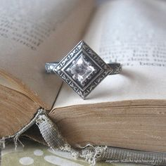 Edwardian Engagement Promise Ring with Oxidized by jorgensenstudio, $66.00